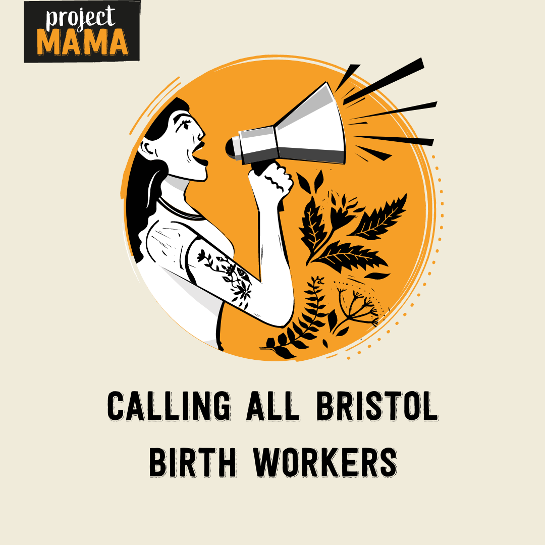 Woman holding a megaphone calls all Bristol Birth Workers to action
